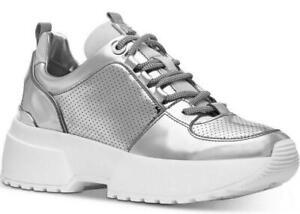 NEW Michael Kors Cosmo Silver Mirror Metallic Trainer Sneakers Size 5.5