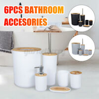 6Pcs/Set Bathroom Accessories Soap Dispenser Toothbrush Toilet Brush Bin Tumbler
