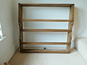 19th C. Wall Hanging Antique Pine Plate Rack.