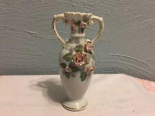 """Vtg 50's Royal Japan Handpainted Pink Bud 6.5"""" Urn Vases w/Handles-Estate"""