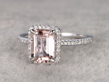 3.20 Ct Pink Emerald Cut Diamond Engagement Ring Bridal Gift White Gold Finish