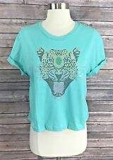 Recycled Karma Top Size Large Embellished Leopard Face Turquoise Green NEW