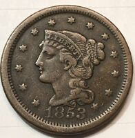 1853 Braided Hair Large Cent, Higher Grade Free Shipping!!!!!!!!!!!