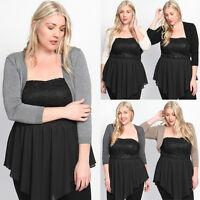 TheMogan Women's Plus Size 3/4 Sleeve Knit Bolero Shrug Open Crop Cover Cardigan