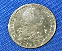 """MEXICO 1790 Mo FM Spanish Colonial 8 Reales Chas III BUST..Says Chas """"IV"""" EZ EF*"""