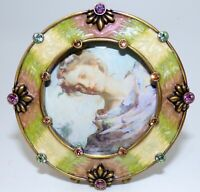 JAY STRONGWATER ROUND PICTURE FRAME PINK & GREEN