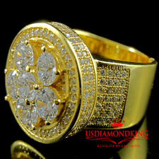 Men Flower Cluster Pave Set 3D Simulated Diamond Gold Finish Ring Stretchable