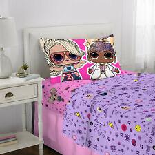 L.O.L SURPRISE 3 Piece Microfiber Twin Bedding Sheet Set & Pillowcase LOL NEW