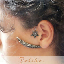 JoliKo Ohrklemme Ear cuff Earring Ohrring Antik Silber Halbmond Ornament LINKS