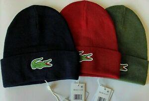 Lacoste Wool Blend Knit Beanie Men's Hat $50