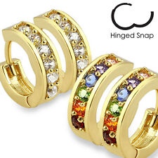 2 Pairs Of Paved C.Z. & Rainbow C.Z. Gold Plated On Surgical Steel Earrings 20G