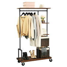 5-Tier Clothes Rack Hat and Coat Stand with Shoe Rack Shelf on Wheels HSR66BX