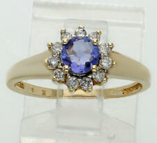 Diamond iolite halo ring 14K yellow gold round brilliant .45CT sz7.25 purple gem