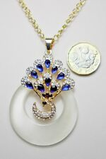 Peacock pendant, cats eye, 23'' adjustable gold colour chain, blue+white crystal