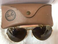 B&L Ray-Ban Aviator Sunglasses 58 / 14 Gold Frame Brown Lens USA