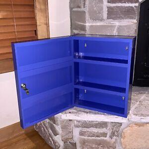Vintage Royal Blue 3-Tiered Hinged Door 6-Shelf Wall Mount Cabinet Tool Rack