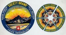 7 ORIGINAL SOCIETY BRAND CHEESE LABELS - 1 BOX TOP -SET OF 6 TRIANGLES