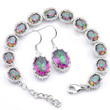 Awesome Jewelry Set Rainbow Mystic Topaz Gemstone SilverCharm Bracelet& Earrings