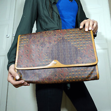 original ESCADA Dokumenten Mappe Tasche Paisley Print Leder Leather Bag vintage