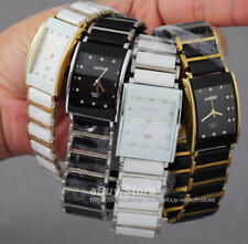 New Stainless Steel Ceramic Band Diamonds Men's Ladies Square Quartz Wrist Watch