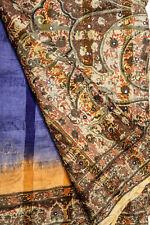 Vintage Indian Pure Tussar Silk Saree Printed Sari Ethnic Craft Decor Wrap