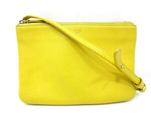 Authentic CELINE Trio Shoulder Bag Leather Yellow Made in Italy 68842