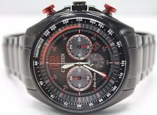 *NEW* Men's Citizen Eco-Drive CA4195-51E Black Red Ion Plated Chronograph Watch