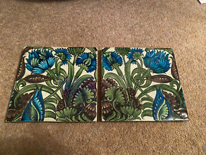 Pair Original William De Morgan Antique Flower Pattern Tile Victorian Fire Place