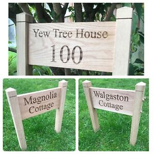 Personalised Oak House Address Sign Engraved Outdoor Freestanding Lawn Sign Gift