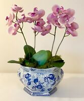 VINTAGE CHINESE PORCELAIN BLUE AND WHITE PLANT POT PLANTER 5 INS TALL