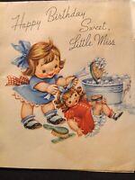#1019🌟Vintage 40s Children's Birthday Greeting Card LITTLE MISS DOES DOLLS HAIR