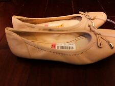 Alex Marie Beige Leather Sadee Bow Ballet Flat Round Toe Shoes Size 10M