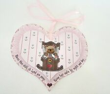 Brandywine Woodcrafts Pink Wood Heart Bless this child oh Lord we pray