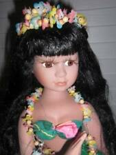 "Unmarked ~ Vintage 16"" Porcelain Beautiful Hula Doll"
