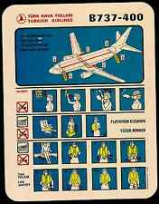 TURKISH AIRLINES  BOEING B737-400 AIRCRAFT SAFETY CARD - 2000 BIG SIZE