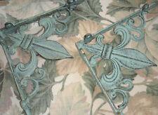 Set of 2-  Aged Bronze Green Cast Iron French Fleur De Lis Tuscan Shelf Brackets