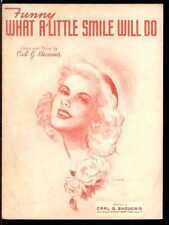 """BARBELLE """"FUNNY WHAT A SMILE WILL DO"""" PIANO/VOCAL/GUITAR SHEET MUSIC-1945-RARE!!"""