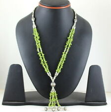 NATURAL REAL GREEN FINE PERIDOT GEMSTONE BEADED BEAUTIFUL NECKLACE 44 GRAMS