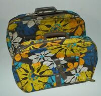 Vintage Travel Carry On Bag Pair 1970s Canvas & Vinyl Blue Yellow Teal Brown