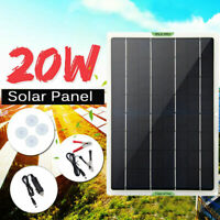 20W Solar Panel 12V Outdoor RV Car Boat Trickle Battery Charger Power Supply