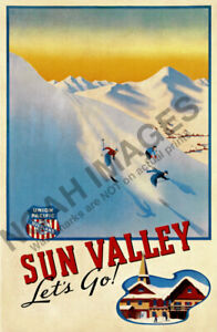 Sun Valley Lets Go vintage ski train travel poster 16x24