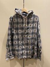 Supreme Hooded LS Shirt Jacquard Blue Sz M Preowned