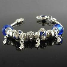 """Silver Plated Blue Murano Glass Beads Bracelet CZ 7.5""""Chain Link Charms Jewelry"""