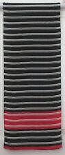 TERRIART Black, White, Red Stripes SILK 52x10 Lg Scarf-Vintage - LIZ
