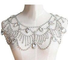 Wedding Jewelry Silver Tone Clear Rhinestone Shoulder Deco Bib Necklace(a1018)