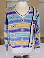 Vintage St. Croix Knits V-Neck Sweater 3D Cosby Yellow Blue Green Medium Large