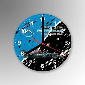 F1 Lewis Hamilton Team Glass Wall Clock