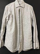 Barry Bricken Mens Long Sleeve Button Down Dress Shirt White Size Medium