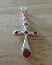 Sterling Silver 37x19mm with 5 Red Rose Color CZ crystals Cross Pendant Charm
