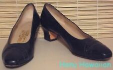Vintage 1980's Salvatore Ferragamo / Saks Fifth Ave Navy w/ Snake Pumps - 9Aa